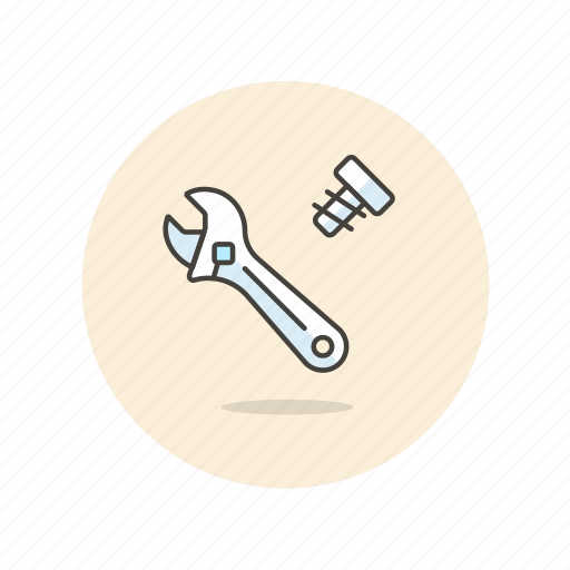 build, equipment, factory, knot, screw, tool, wrench icon