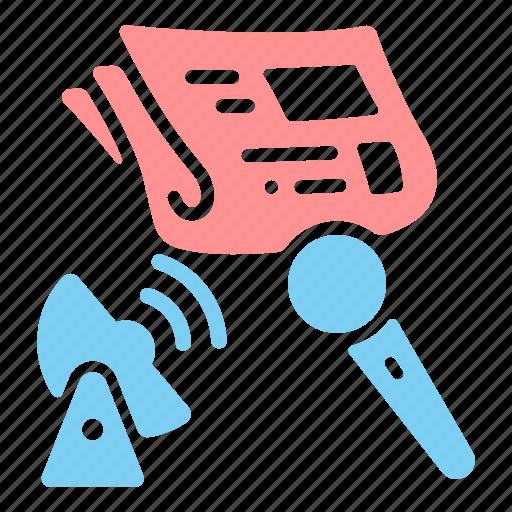 broadcast, journalism, masscommunication, media, microphone, newpaper, news icon