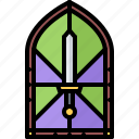 fairy, glass, legend, stained, sword, tale, window icon