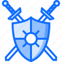 fairy, fantasy, legend, shield, sword, tale icon