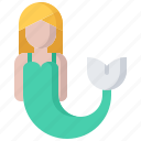 fairy, fantasy, fish, legend, mermaid, tale icon