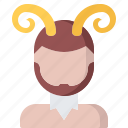 fairy, fantasy, horn, legend, satyr, tale icon