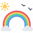 bird, fairy, fantasy, legend, rainbow, sun, tale icon