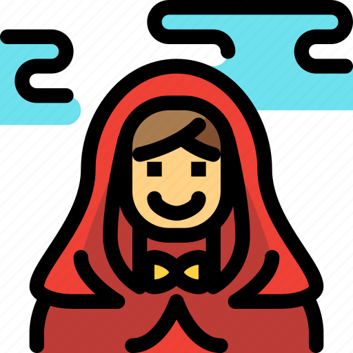 fairy tale, hood, kid, red, riding, story icon