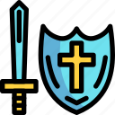 and, fairy tale, kid, shield, story, sword icon
