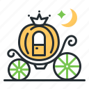 ball, fairytale, fantasy, pumpkin carriage icon