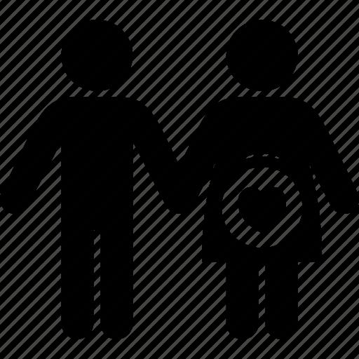 couple, man, pregnant, woman icon