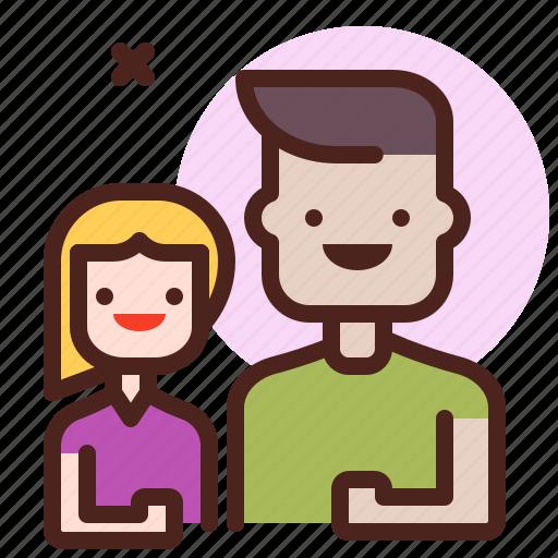 dad, girl, life, love, partner, sibling icon