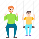 father love, outdoor fun, parenthood, park activity, park swing icon