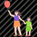 balloon decoration, balloon game, girl playing, girl with balloon icon