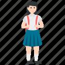 disciple, female learner, female student, school going girl, school student icon