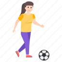 female player, football game, football player, soccer player, sports girl icon