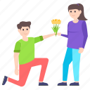 couple proposing, couple relationship, husband and wife, life partners, spouses icon