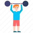bodybuilding, heavy lifting, olympics game, weight lifter, weightlifting icon