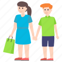 buying, couple shopping, shopping, shopping concept, spending, woman shopping icon