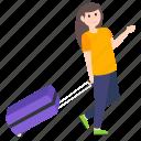 adventurer, female traveling, girl traveling, tourist, traveler icon