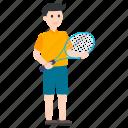 badminton player, boy holding badminton, olympics game, olympics sports, summer olympics icon