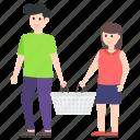 couple buying, couple shopping, shopping concept, spouse spending, woman shopping icon