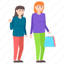friends buying, friends shopping, girl spending, shopping concept, woman shopping icon