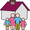 children, family, father, home, house, mother, parents