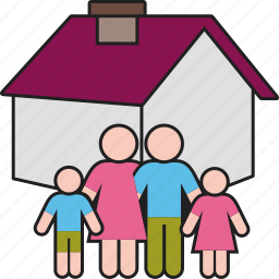 children, family, father, home, house, mother, parents icon