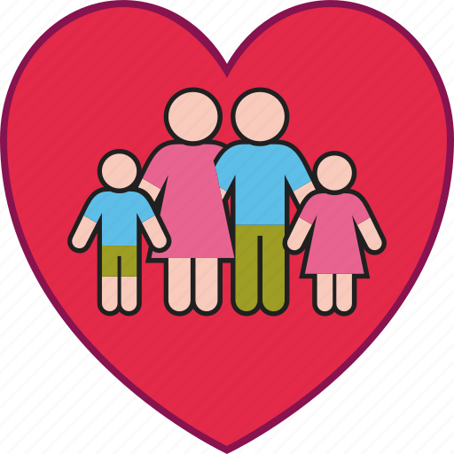 children, family, father, heart, love, mother, parents icon