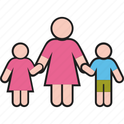 boy, daughter, family, female, girl, mother, son icon