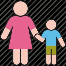 boy, family, kid, mother, son, woman icon