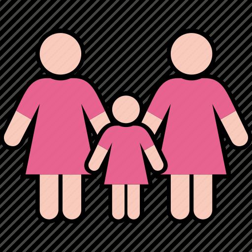 family, gender, girl, parents, same, women icon