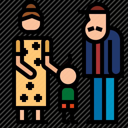 grandfather, grandmother, son icon