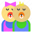 babies, babycare, kids, newborn, twins icon