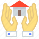 care, hand, hands, holding, home, house icon