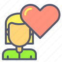female, heart, inloved, love, partner, romance, spouse icon
