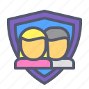 partnership, protection, shield, team, users icon