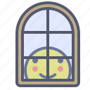 home, house, inside, protected, window icon