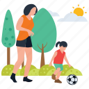 baby and mother, baby playing, football playing, motherhood, park activities, picnic time icon