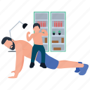 bicep muscle, father and son, fatherhood, fitness training, physical exercise icon
