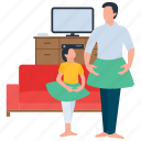 aerobics training, dance class, dance practice, mother and daughter, refreshment time icon