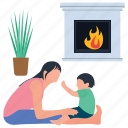 baby and mother, baby care, baby playing, motherhood, mothers love icon