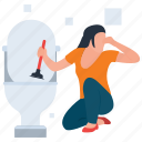 domestic cleaning, residential cleaning, scrubbing toilet brush, toilet bowl, toilet cleaning icon