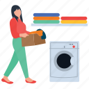cloth cleaning, dirty laundry, dry machine, laundry, washing clothes icon