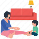 baby and mother, baby care, baby indoor playing, motherhood, mothers love icon