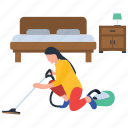 cleaning machine, housekeeping services, room cleaning, steam cleaning, vacuum cleaner, vacuuming icon