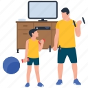 bicep muscle, father and son, fatherhood, fitness training, physical, physical exercise icon
