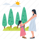 baby and mother, baby playing, motherhood, park activities, park playing, picnic time icon
