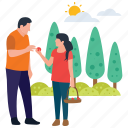 collecting fruits, daughter care, fatherhood, parents love, picking fruits icon