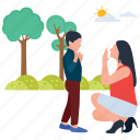 baby and mother, baby playing, motherhood, outdoor fun, park activities, picnic time icon