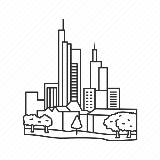 building, city, famous city, famous skyline, frankfurt, germany, skyline icon