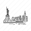 building, city, famous city, famous skyline, new york, ny, skyline icon