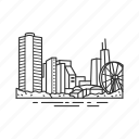 building, chicago, city, famous city, famous skyline, illinois, skyline icon